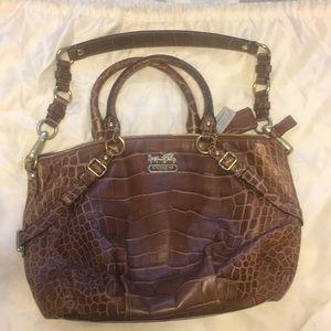 Coach croc print leather purse